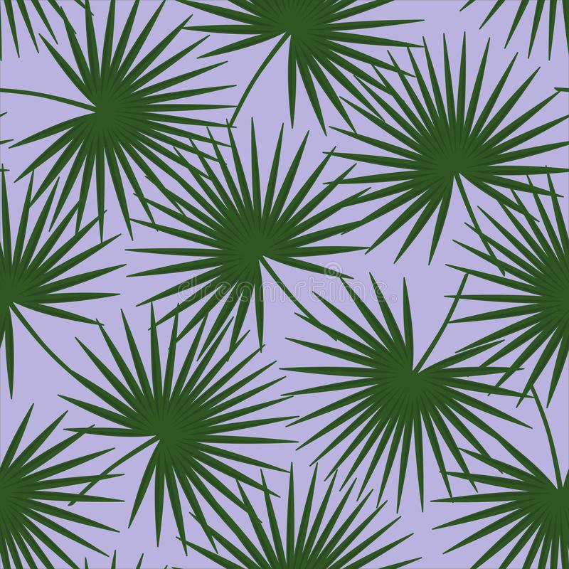Green palm leaves on a purple background livistona rotundifolia palm tree natural exotic tropical hawaii seamless pattern vector vector illustration