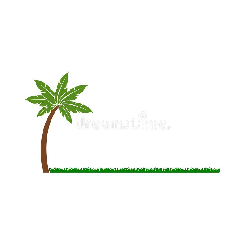 Green palm tree in grass isolated on white background. Simple vector logo vector illustration