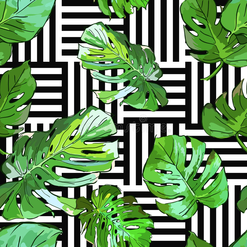 Green palm tree leaves on black and white geometric background. Vector summer seamless pattern. royalty free illustration
