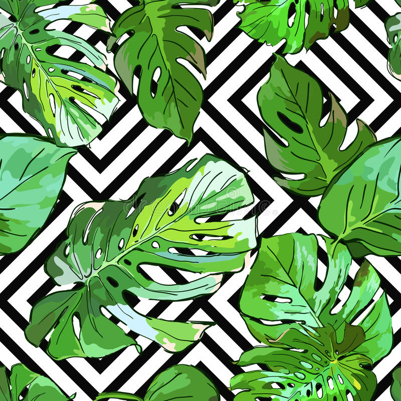 Green palm tree leaves on black and white geometric background. Vector summer seamless pattern. vector illustration