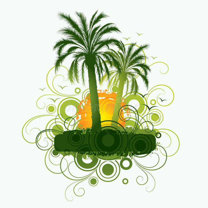 Green palm trees. An illustration of green palm trees vector illustration