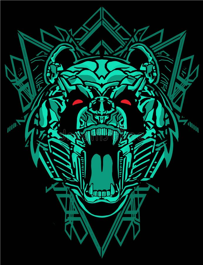 Green panda robot with cyberpunk theme with sacred geometry background for poster and tshirt design royalty free illustration