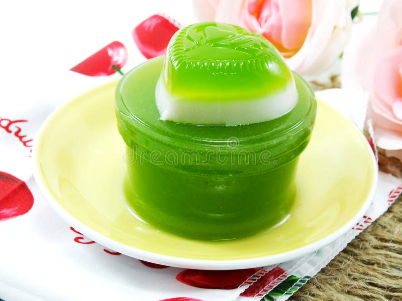 Green pandan and coconut milk jelly heart sweet dessert royalty free stock images
