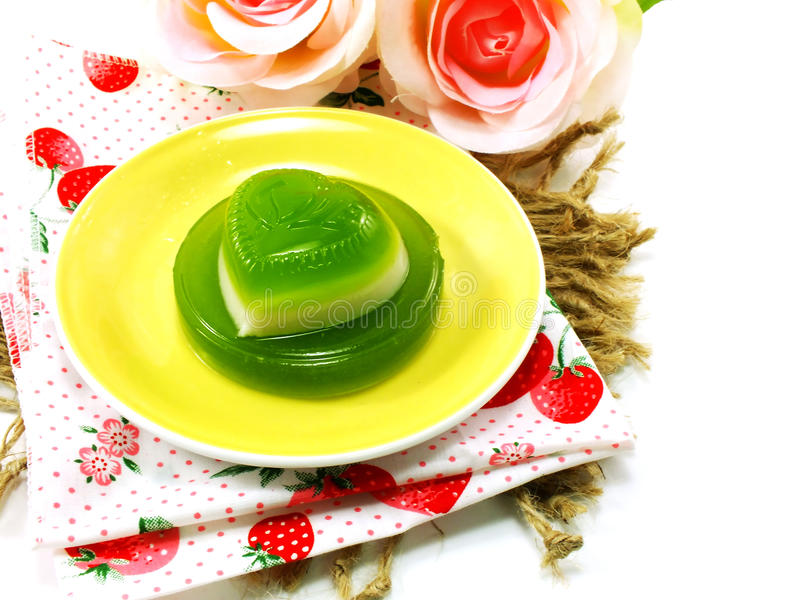 Green pandan and coconut milk jelly heart sweet dessert royalty free stock photography
