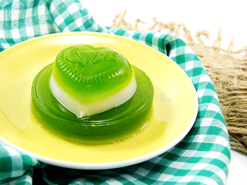 Green pandan and coconut milk jelly heart sweet dessert stock images