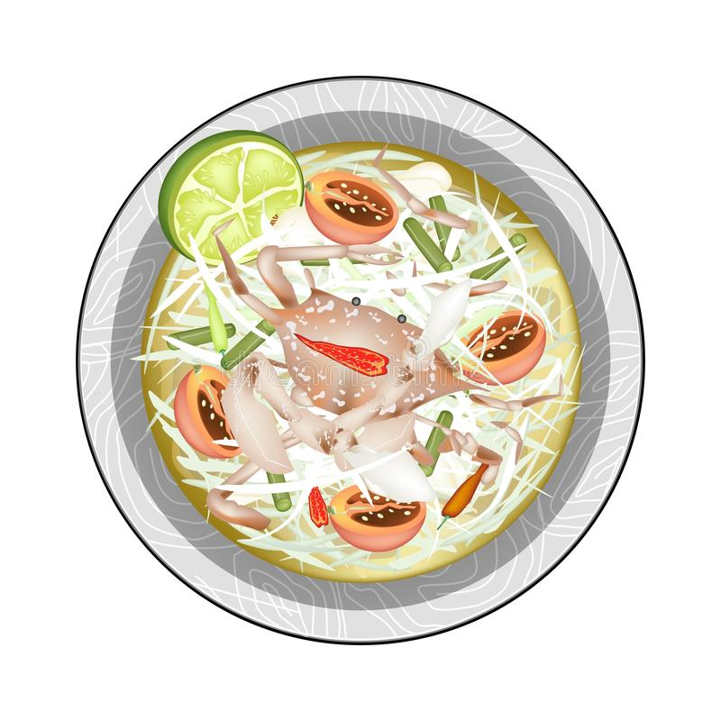 Green Papaya Salad with Fermented Blue Crabs. Cuisine and Food, Plate of Green Papaya Salad with Fermented Blue Crabs. One of The Most Popular Dish in Thailand royalty free illustration