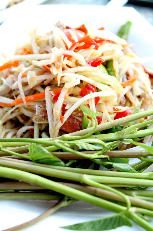 Green papaya salad stock images