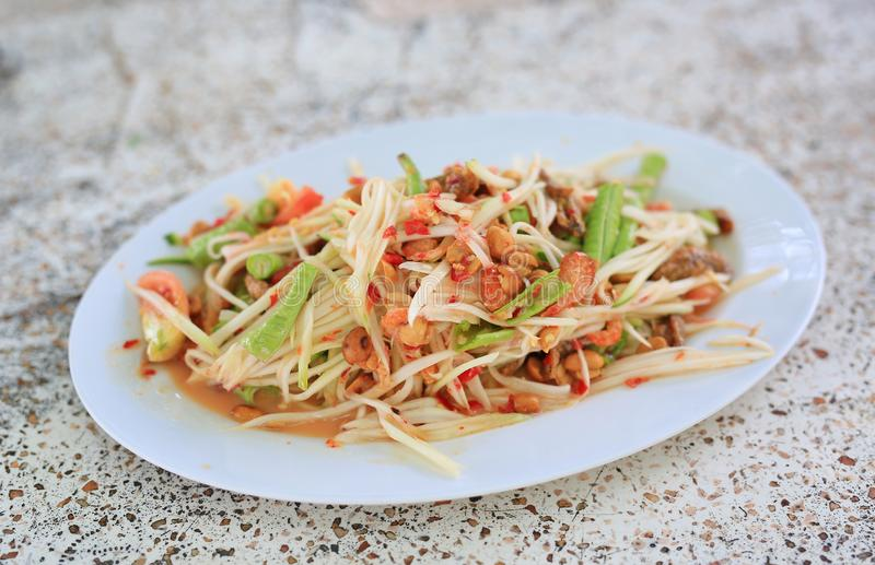 Green Papaya Salad ` SOM TAM `. Thailand delicious popular food royalty free stock photo