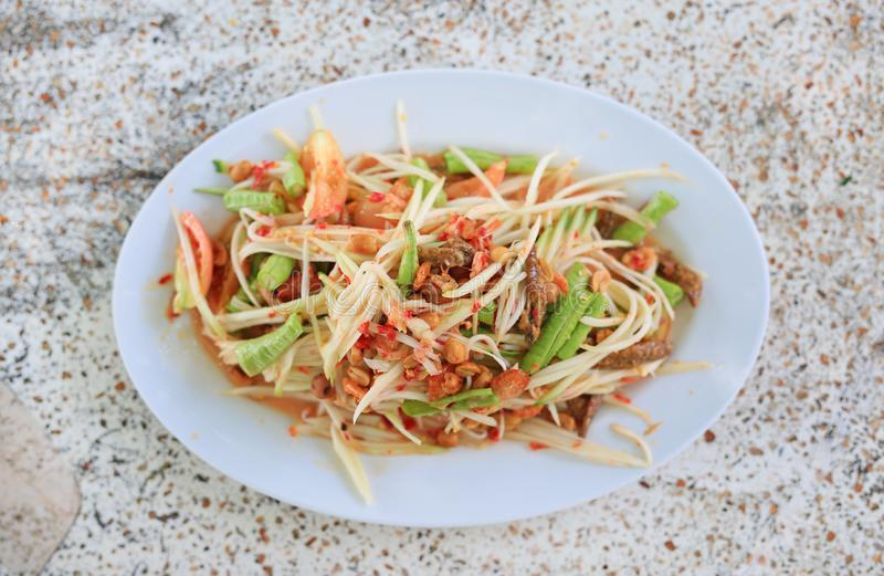 Green Papaya Salad ` SOM TAM `. Thailand delicious popular food stock image