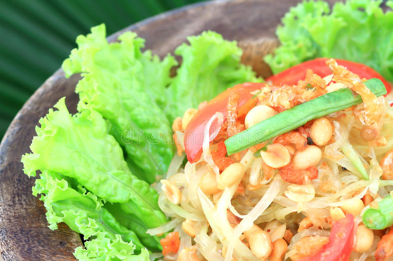 Green papaya salad,Thai cuisine. Somtum Thai food and spicy food stock photo