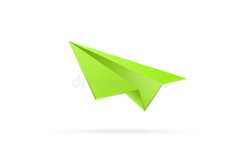 Green paper airplane on a white background. The concept of starting a business, a new beginning, all over again. start ap vector illustration