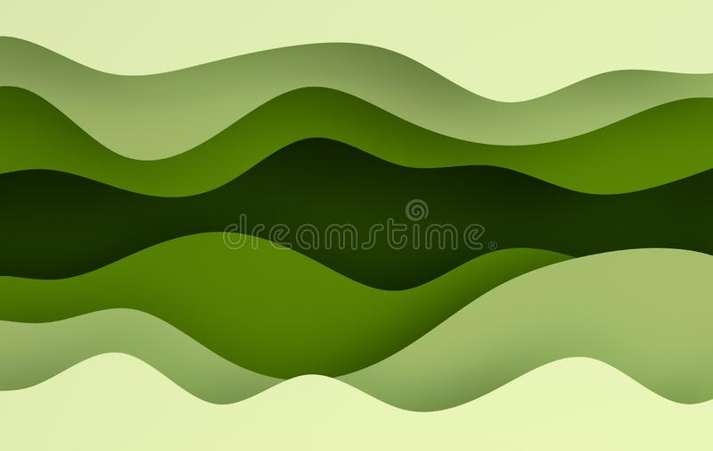 Green paper art cartoon abstract waves, holes. Paper carve background. Modern origami design template. 3d rendering illustration vector illustration