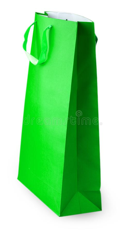 Green paper bag isolated on white with Clipping Path.  stock photography