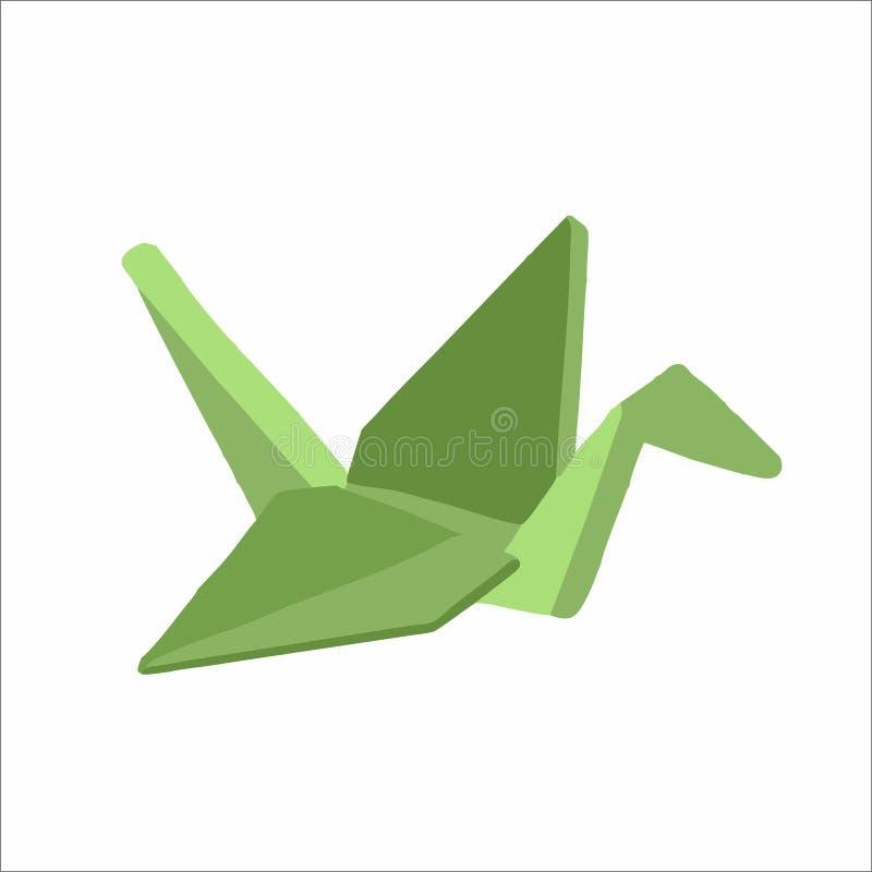 Green paper crane vector illustration