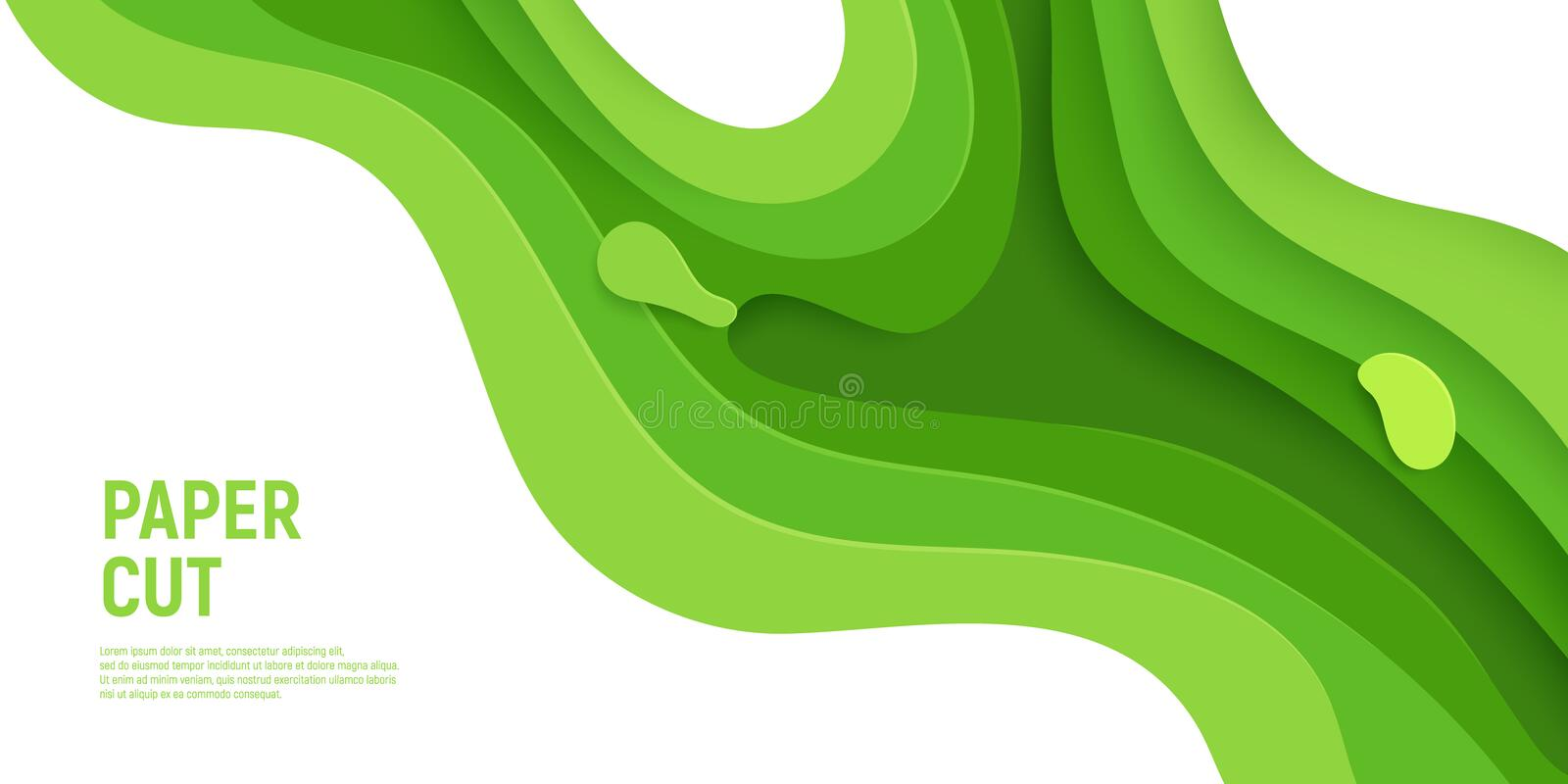 Green paper cut banner with 3D slime abstract background and green waves layers. Abstract layout design for brochure and stock illustration