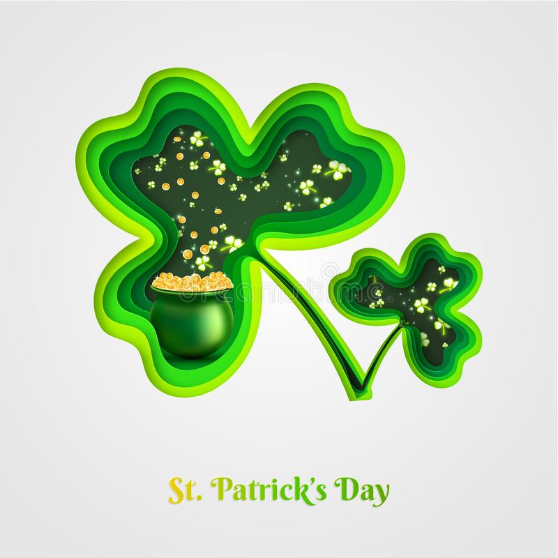 Green paper layer cut cloves leaves with illustration of irish traditional coin pot for Happy St. Patrick`s Day. royalty free illustration