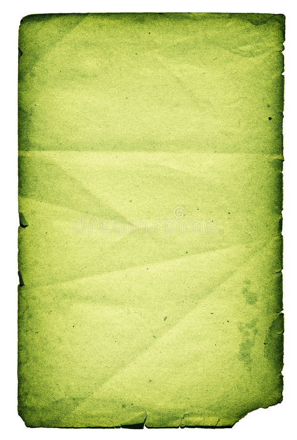 Green paper page,isolated royalty free stock photos