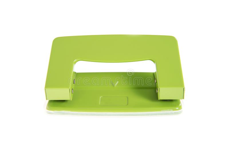 The green paper puncher Isolated royalty free stock photo