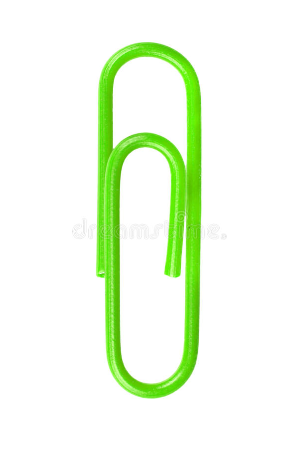 Green paperclip isolated on white background.  royalty free stock image