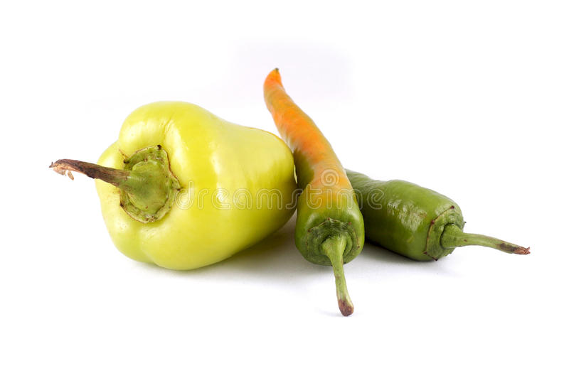 Green paprica and pepper royalty free stock photos