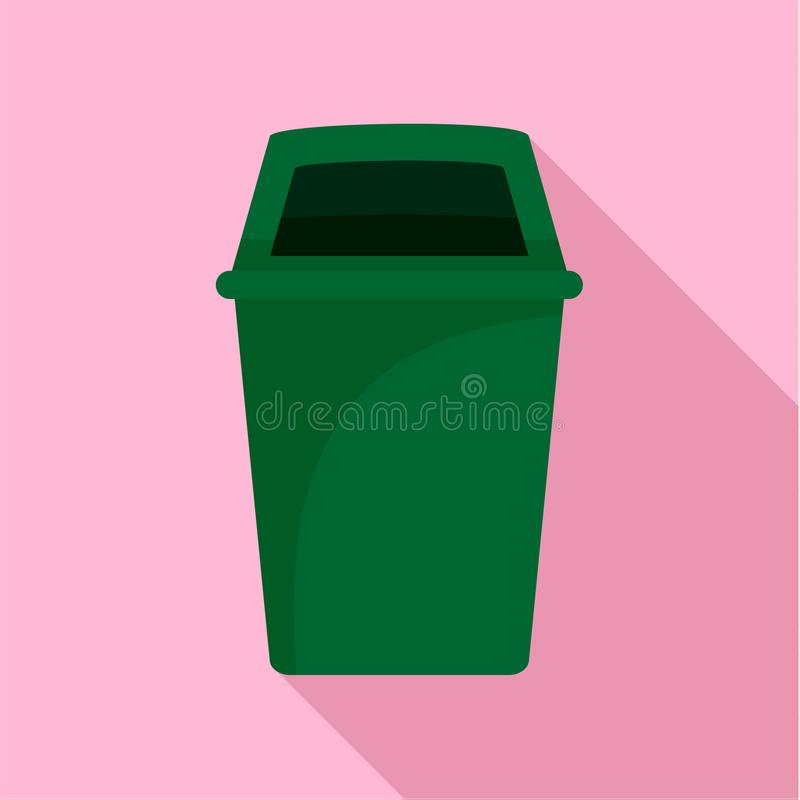 Green park garbage can icon, flat style. Green park garbage can icon. Flat illustration of green park garbage can icon for web design stock illustration