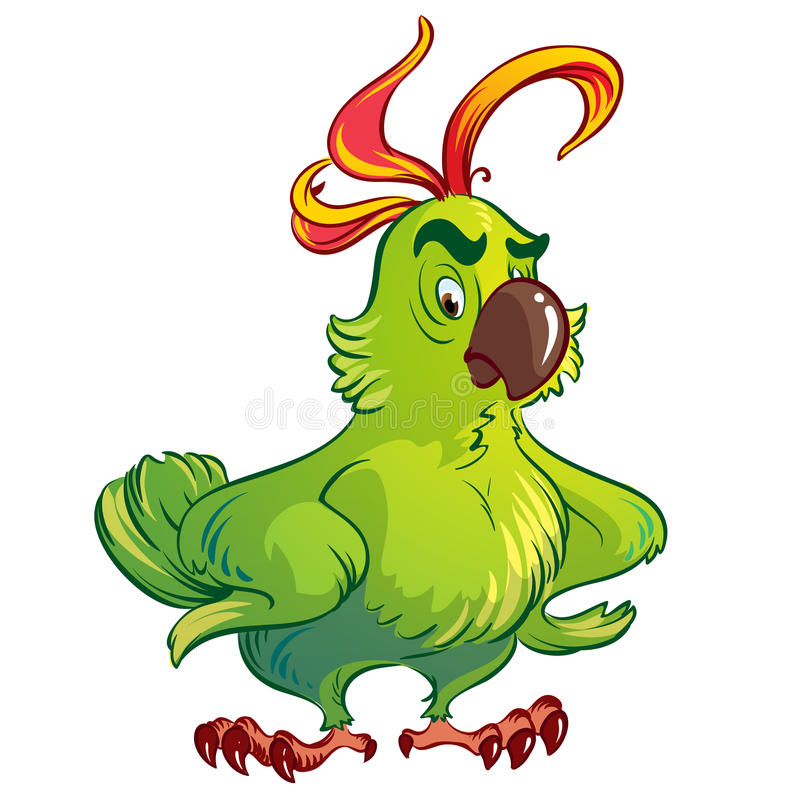 Green parrot royalty free illustration