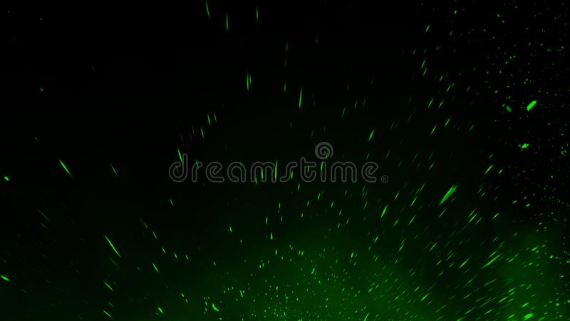Green particles debris isolated on black background for text or space . Film texture effect. Design element. Green particles debris isolated on black background royalty free stock photography