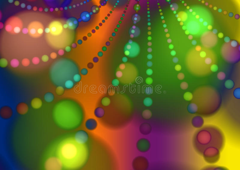 Green Party Decorations Background. A green and yellow abstract composition of christmas bulbs and beads vector illustration