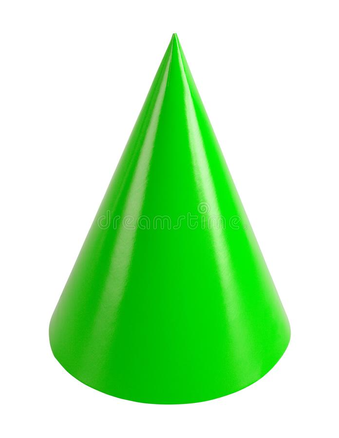 Green Party Hat. Green Birthday Party Hat Cut Out on White royalty free stock photos