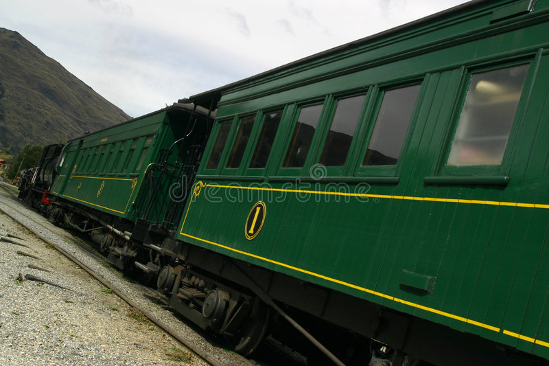 Green passenger train stock image
