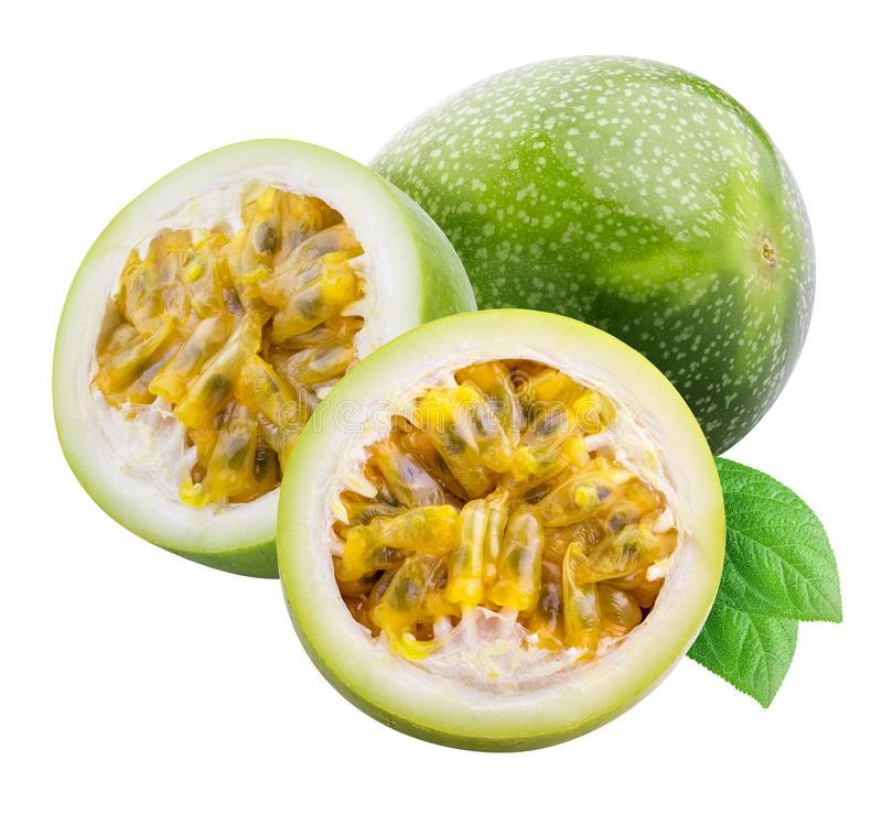 Green passion fruit isolated on white background with shadow. Clipping path.  royalty free stock photo