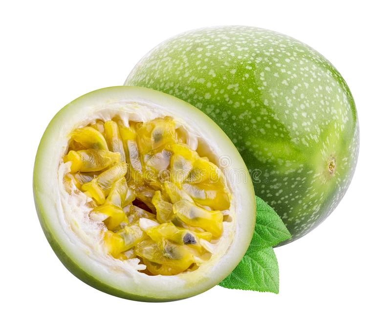 Green passion fruit isolated on white background with shadow. Clipping path.  stock photography