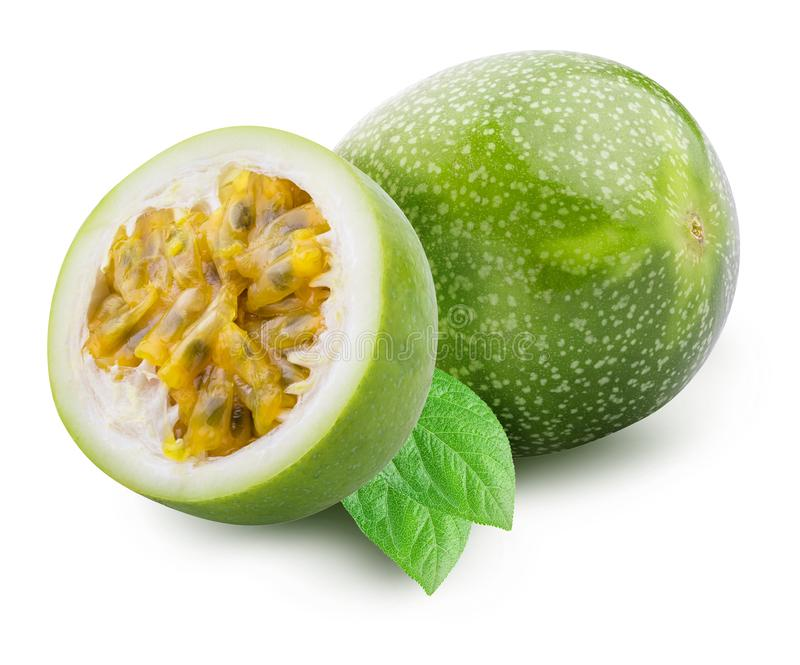 Green passion fruit isolated on white background with shadow. Clipping path.  stock image