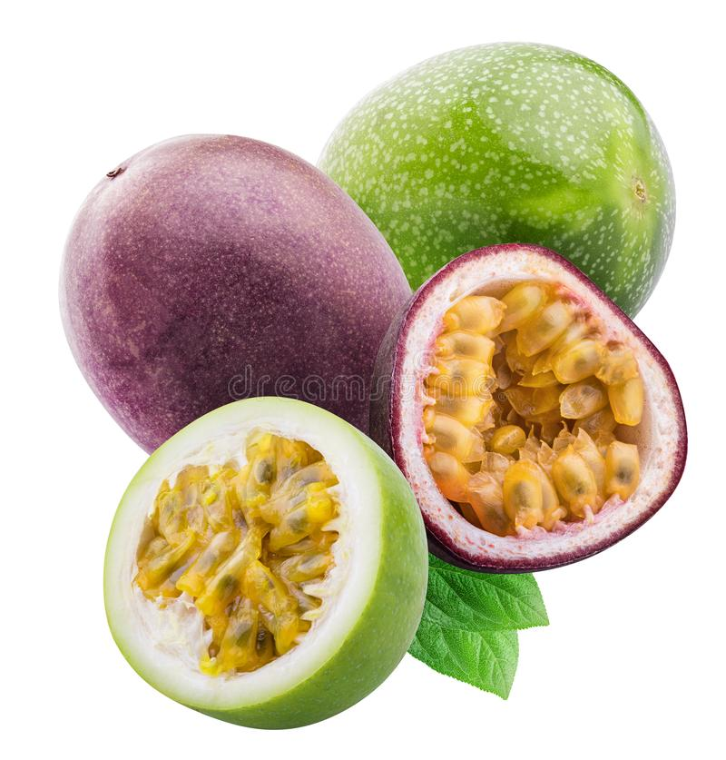 Green passion fruit isolated on white background with shadow. Clipping path.  royalty free stock photography
