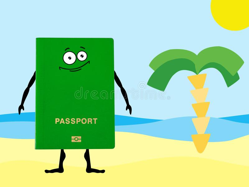Green passport on a hand drawn beach with palm tree. vector illustration