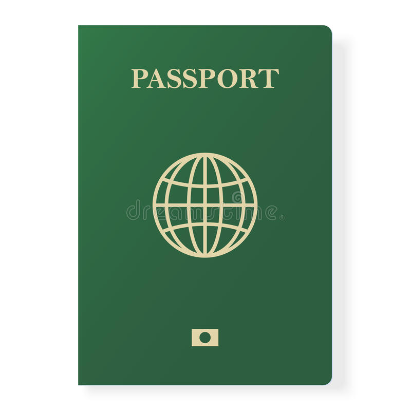 Green passport isolated on white. International identification document for travel. Vector illustration. Green passport isolated on white. International stock illustration