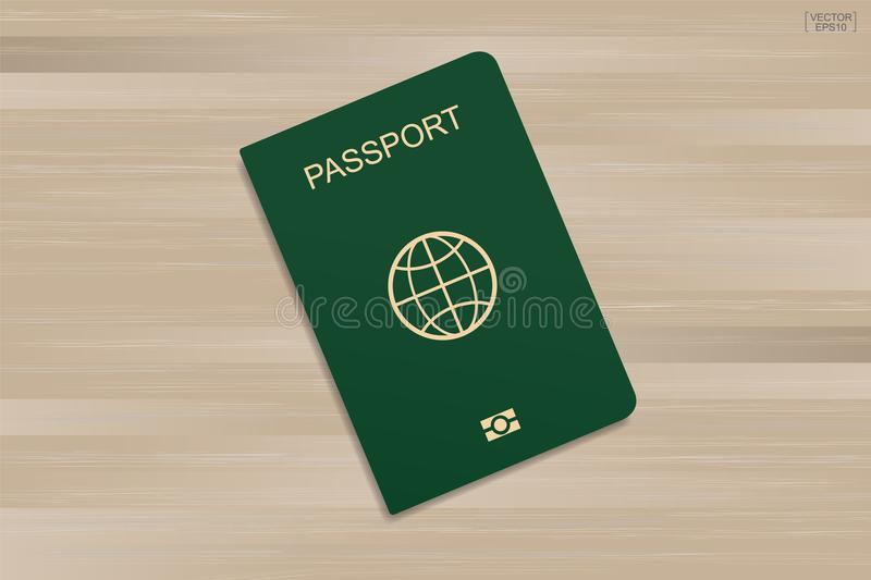 Green passport on wood pattern and texture background. Vector. royalty free illustration