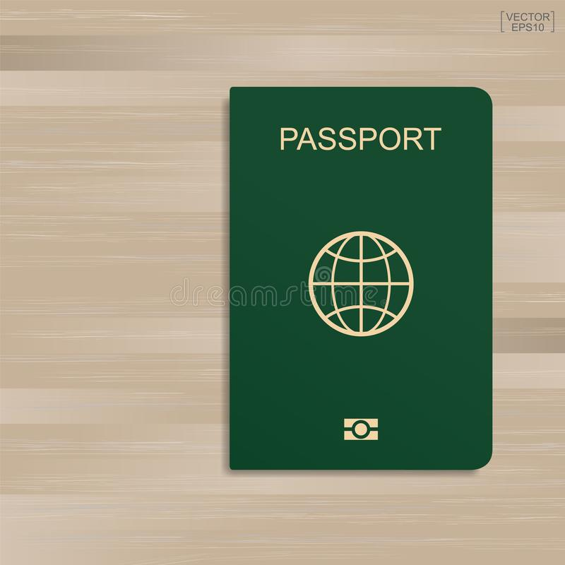 Green passport on wood pattern and texture background. Vector. Green passport on wood pattern and texture background. Vector illustration stock illustration