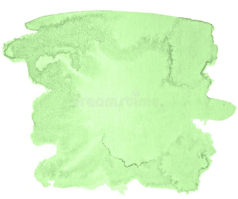 Green pastel watercolor hand-drawn isolated wash stain on white background stock photos