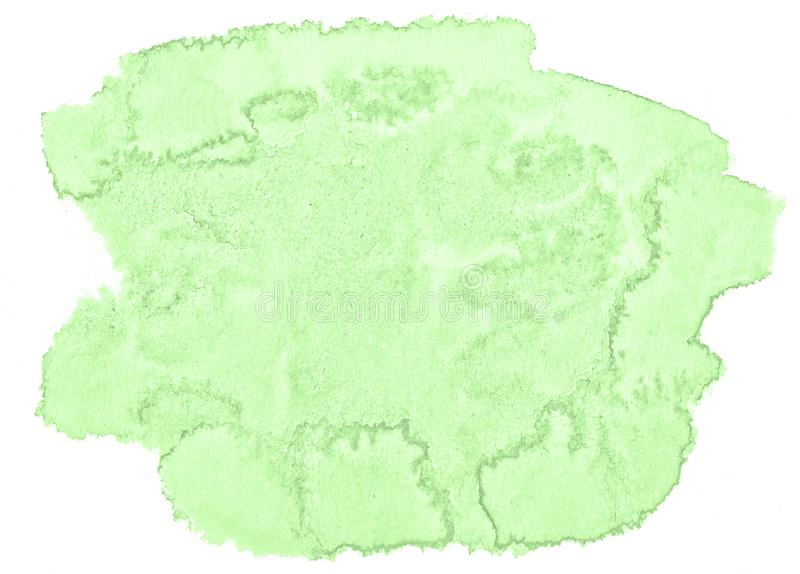 Green pastel watercolor hand-drawn isolated wash stain on white background royalty free stock photos