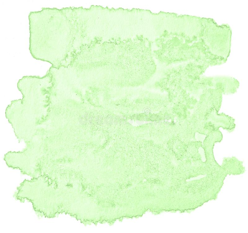 Green pastel watercolor hand-drawn isolated wash stain on white background royalty free stock photography