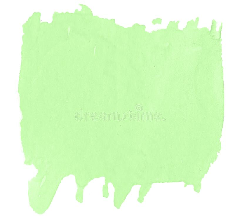 Green pastel watercolor hand-drawn isolated wash stain on white background stock images