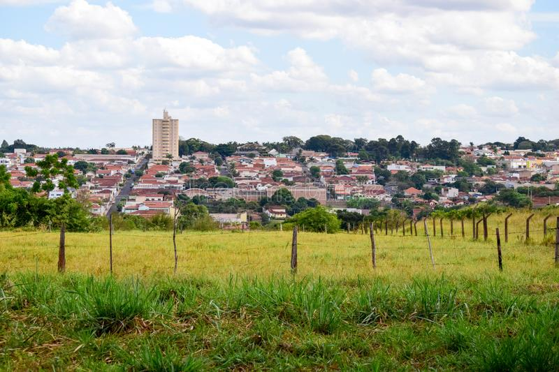 Green Pasture and Skyline from Pederneiras, Brazil royalty free stock photography