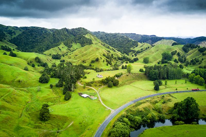 Arial view of beautiful landscape of Whanganui, New Zealand stock photos
