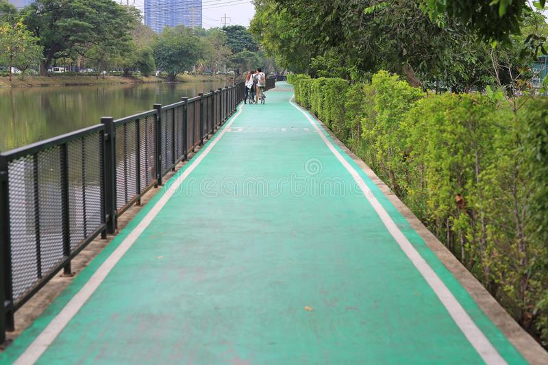 A green pathway of bicycles lane at the nature park stock photo