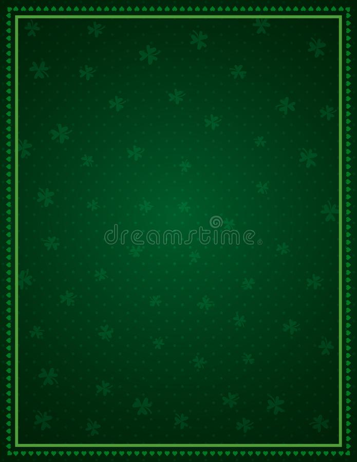 Green Patricks Day background with frame of green clovers. Patrick`s Day holiday design.Can be used for wallpaper, web, scrap. Green Patricks Day background with stock illustration