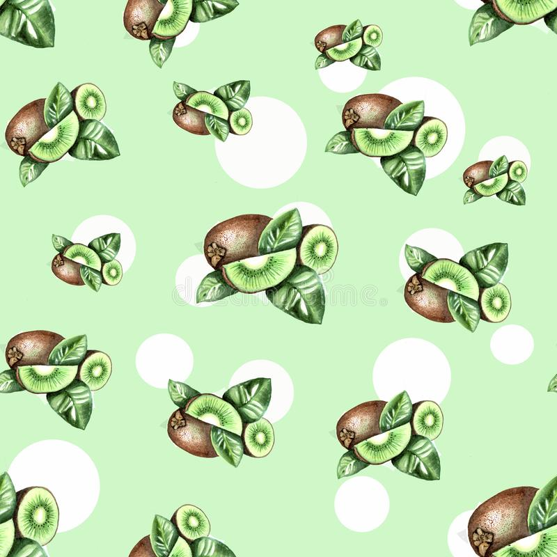 Green pattern with white dots and watercolor kiwi stock illustration
