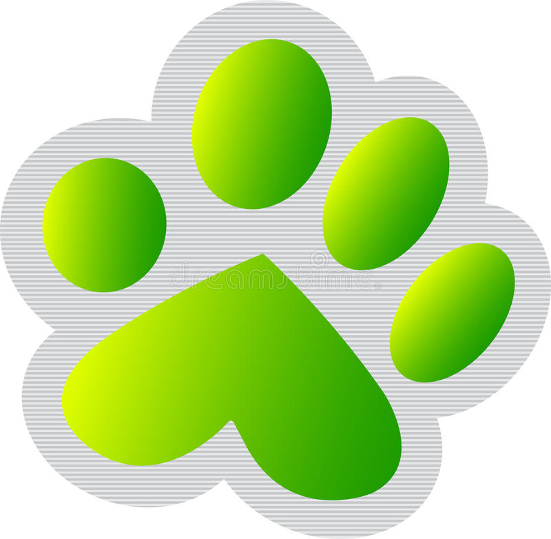 Download Green paw print stock vector. Image of isolated, design - 22500794