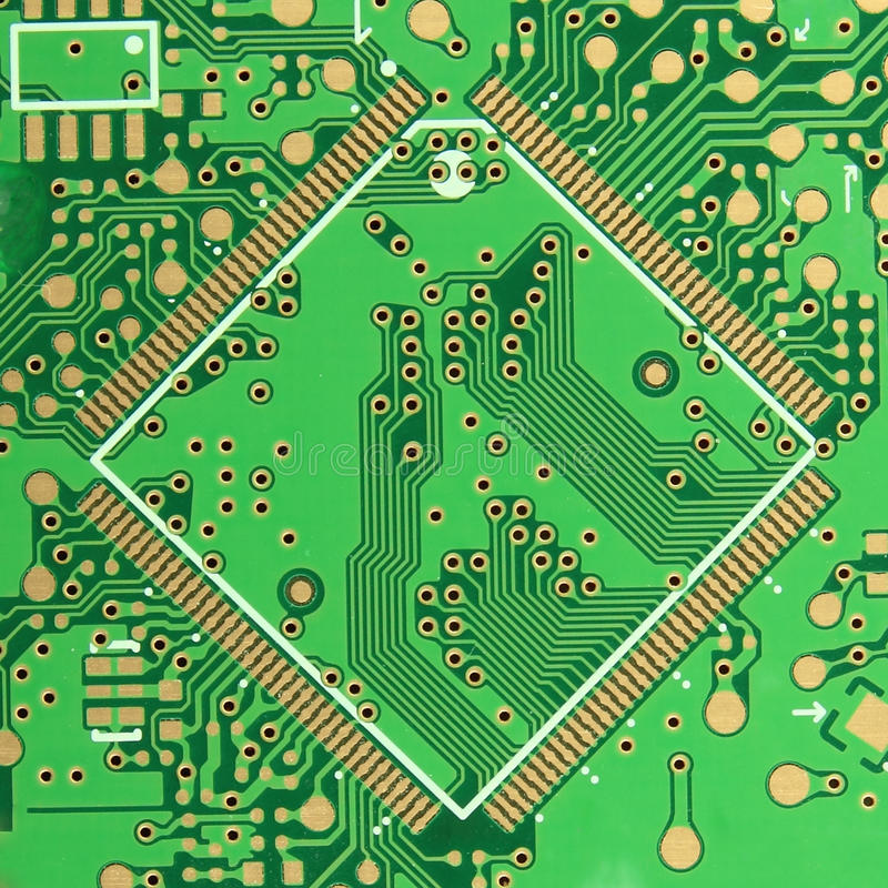 The Green PCB. On the lighting royalty free stock image