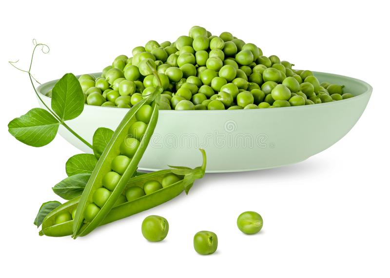 Green pea on plate with pod and beans and fresh leaf on stem isolated on white background. Composition for packaging design stock photo
